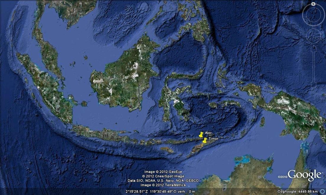 Alor en Timor zijn twee Indonesische eilanden ten noorden van Australië (Google maps)