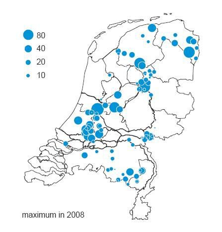 Map of where great egrets winter in the Netherlands